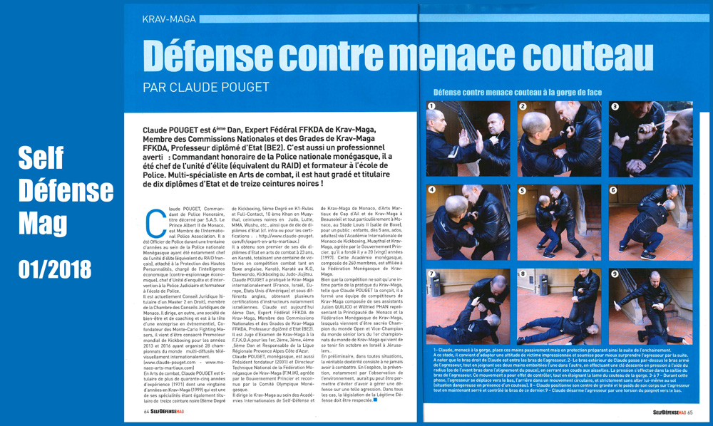 Technique Krav Maga menace couteau Claude Pouget