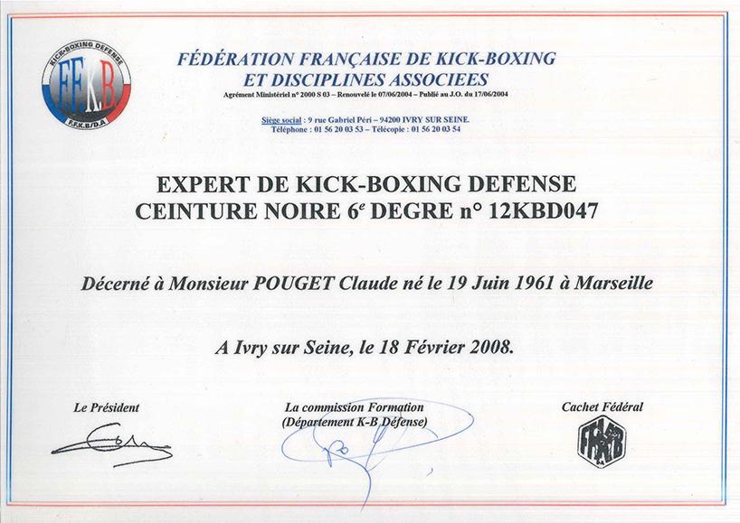 05 KICKBOXING DEFENSE EXPERT CEINTURE NOIRE 6eme DEGRES